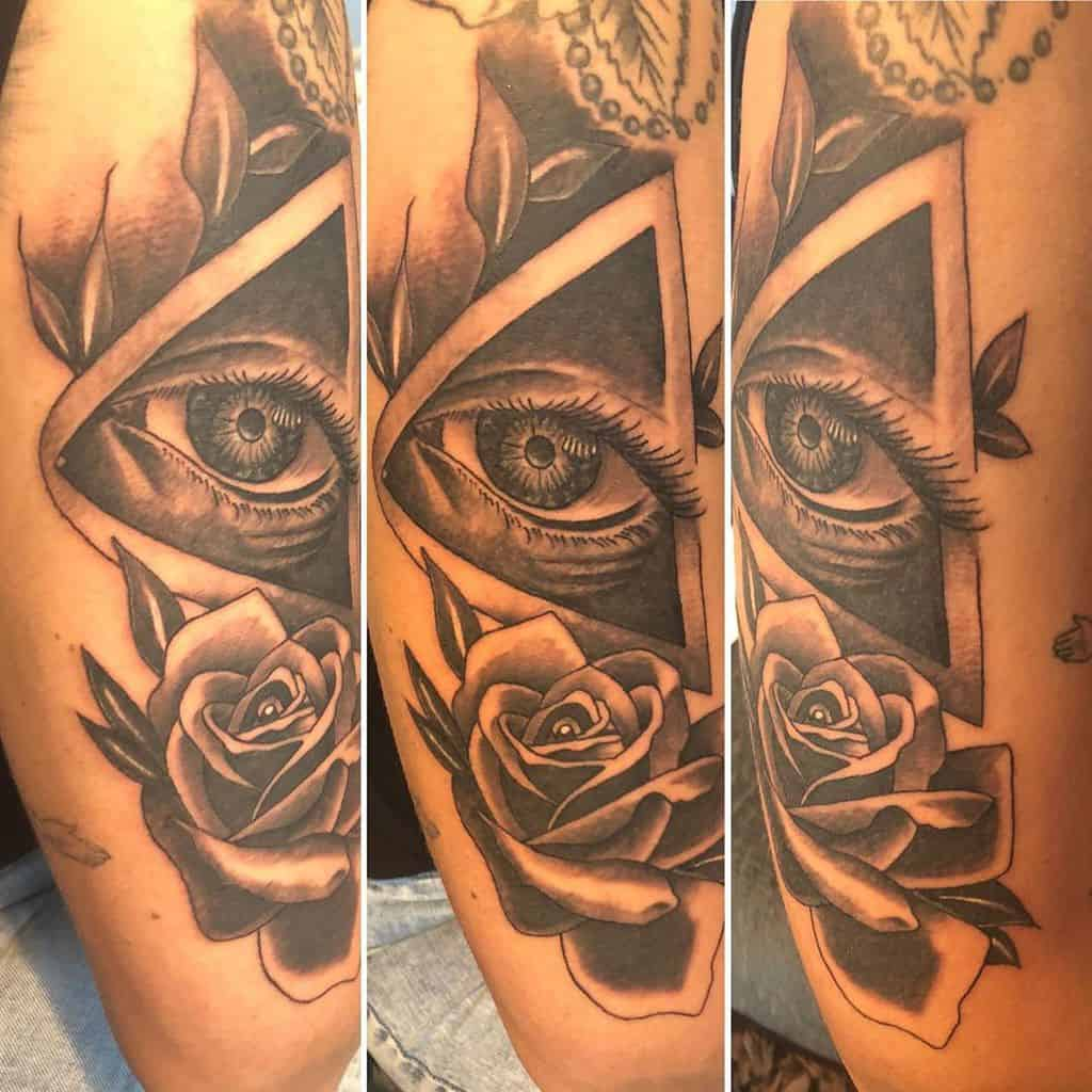 Rose Third Eye Tattoo
