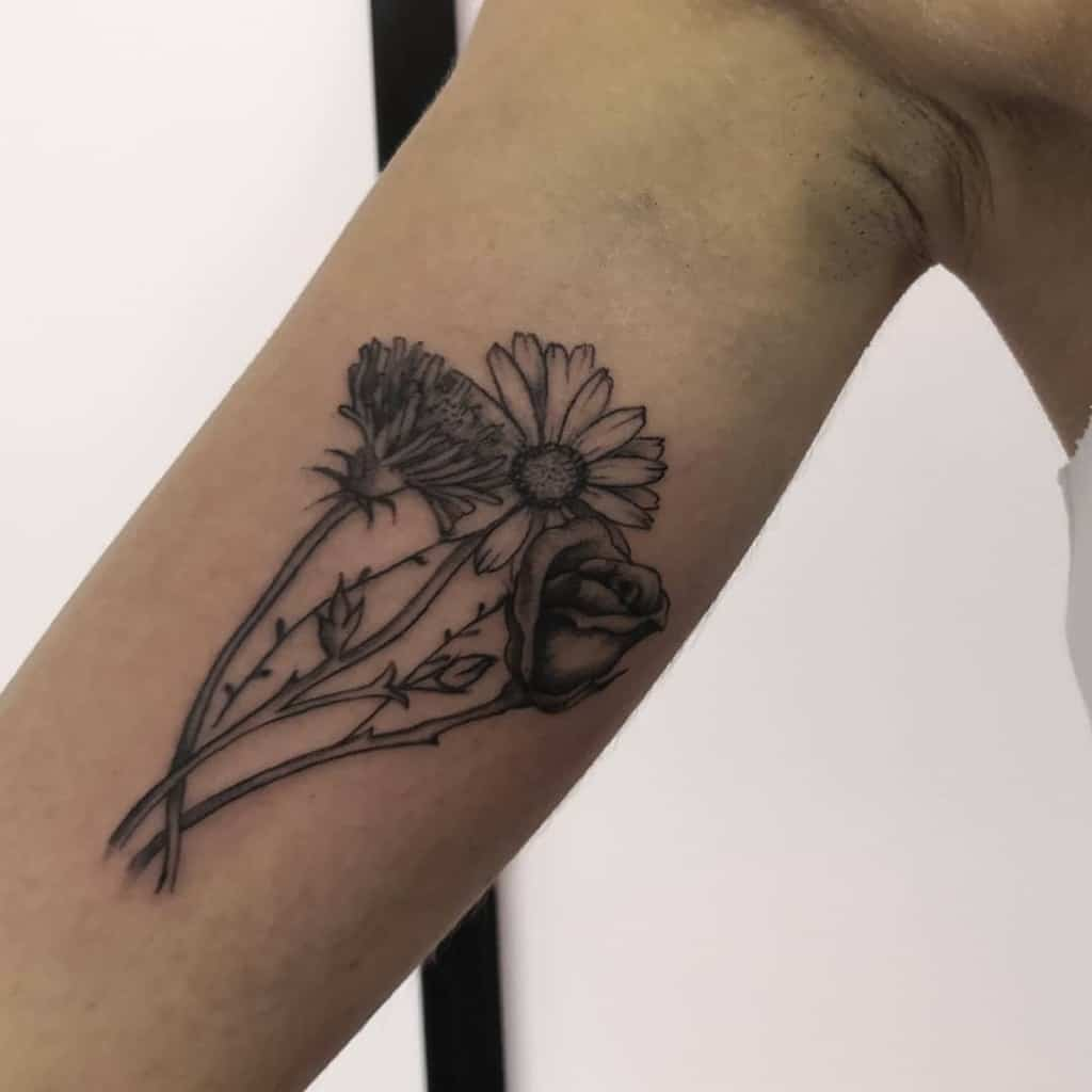 rose with dandelion tattoo