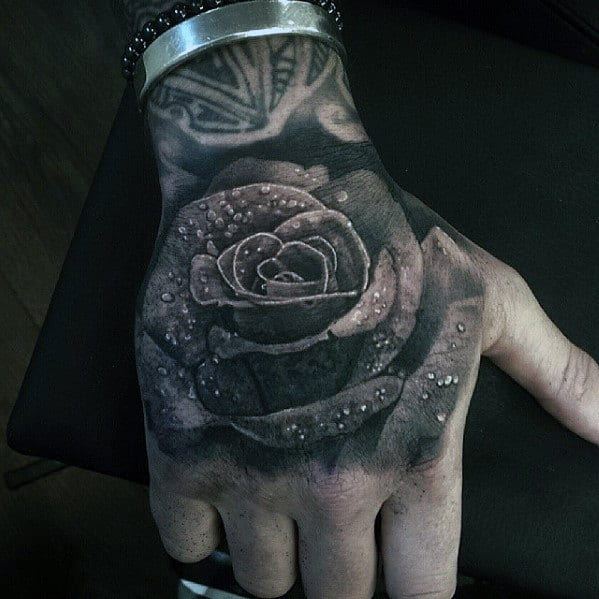 Rose With Water Droplets Mens Badass Hand Tattoo