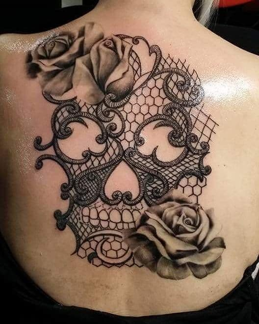 Roses Lace Skull Tattoo