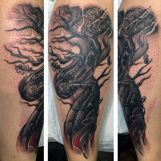 Rough Grey Oak Tree Tattoo On Calves For Men