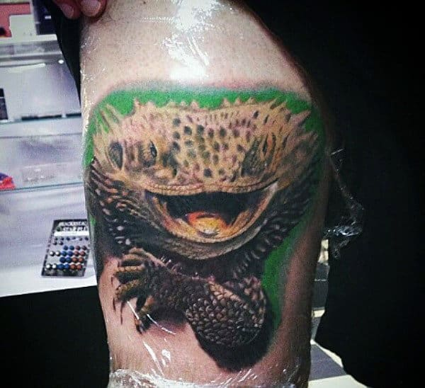 Rough Skinned Open Mouthed Lizard Tattoo Male Arms
