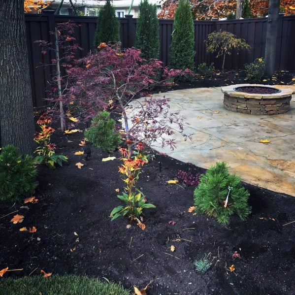 Round Fire Pit Backyard Flagstone Patio Design