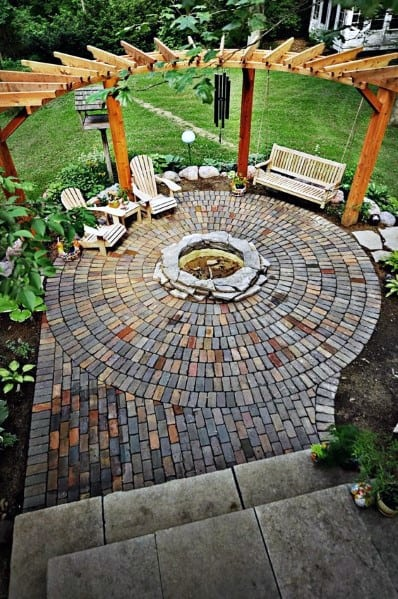 Round Fire Pit Brick Patio Home Designs