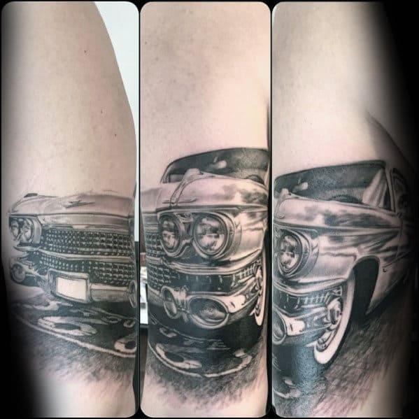 Route 66 Guys Cadillac Male Car Forearm Tattoos