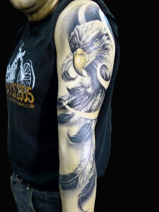 Royal Eagle And Feather Tattoo On Sleeves For Men