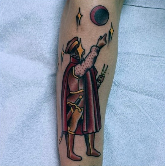 Royal Man Star Gazing At Constellations Mens Forearm Tattoo