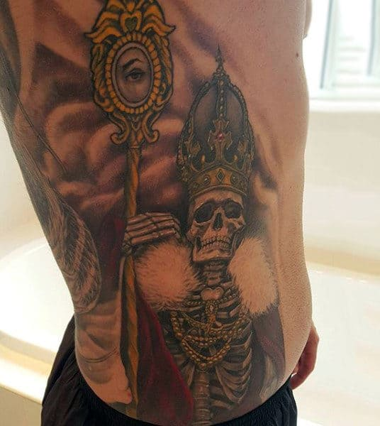 Royal Skeleton With Golden Mirror And Crown Tattoo Ribs Male