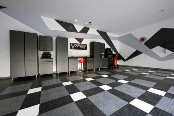 Rubber Garage Flooring Black Grey And White Design