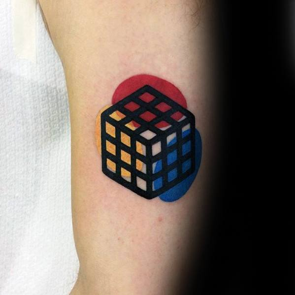 Rubiks Cube Colorful Arm Mens Small Tattoos
