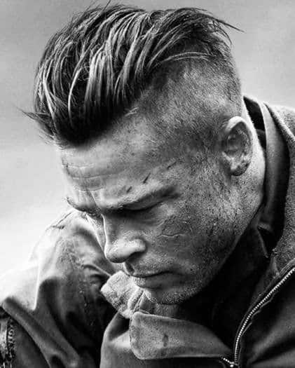 Rugged Mens Undercut Hairstyle With Slicked Back Top