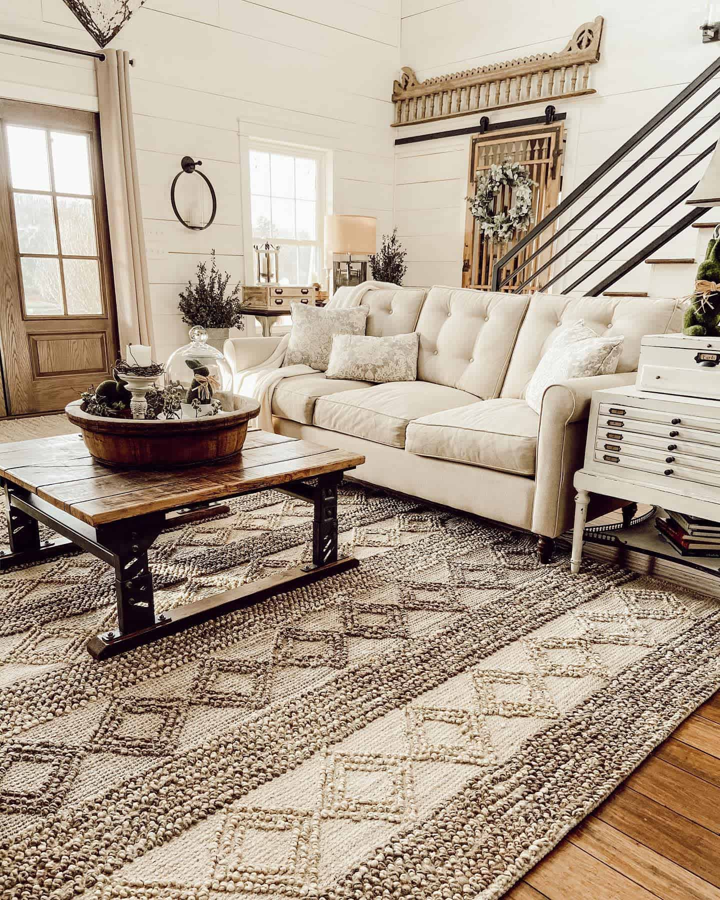 Rugs Pillows And Blankets Farmhouse Living Room Ideas Rachel Thepondsfarmhouse