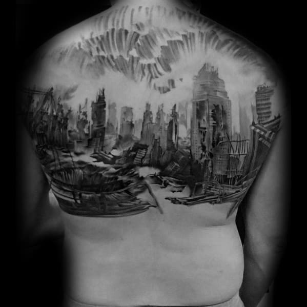 Ruined City Skyline Mens Back Tattoo With Watercolor Design
