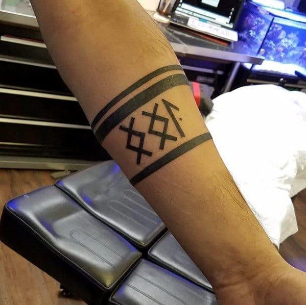 Rune Mens Black Ink Forearm Band Tattoo
