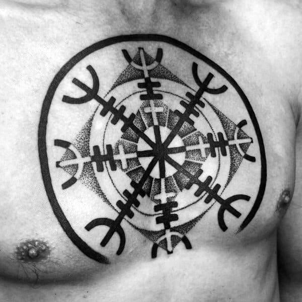 Rune Shield Chest Tattoos For Men