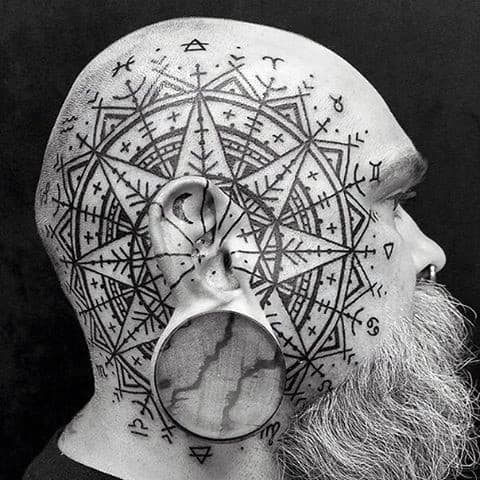 Rune Star Pattern Guys Side Of Face Tattoos
