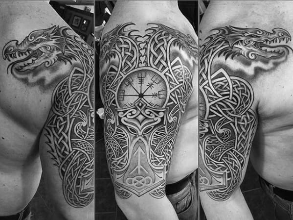 Rune With Celtic Dragon Guys Half Sleeve Tattoos