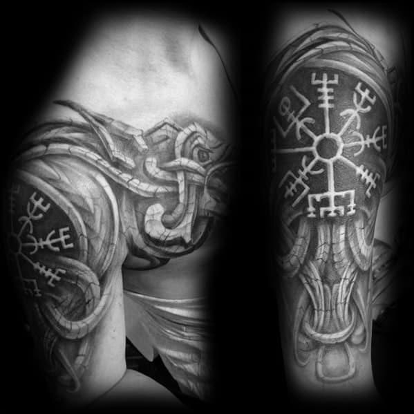 Rune With Dragon Guys Tribal Arm Tattoo Ideas