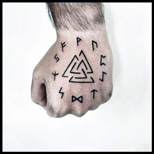 50 Valknut Tattoo Designs For Men Norse Mythology Ink Ideas
