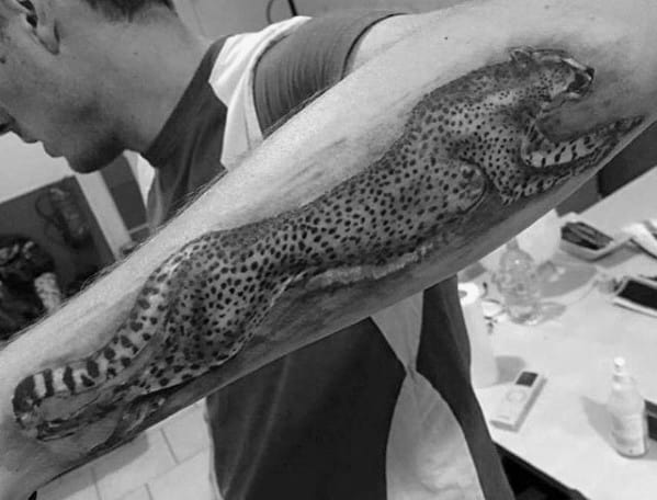 Running Cheetah Mens Realistic 3d Outer Forearm Tattoo
