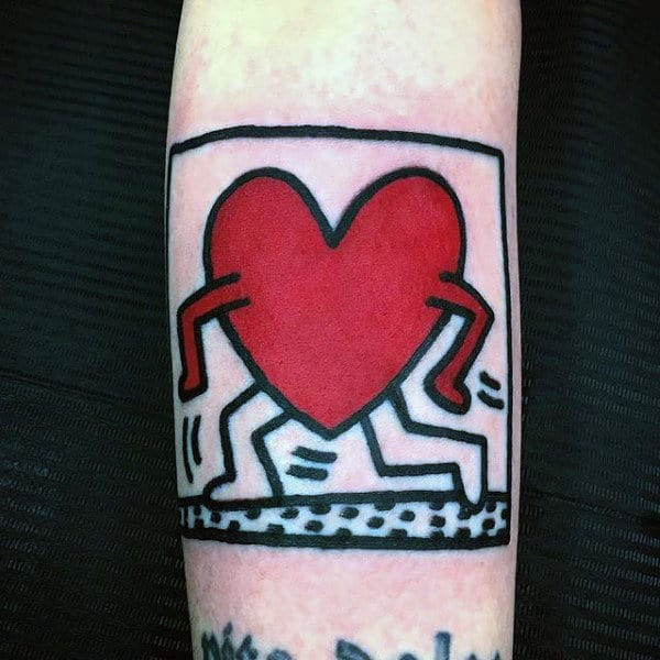 Running Heart Male Pop Art Tattoos