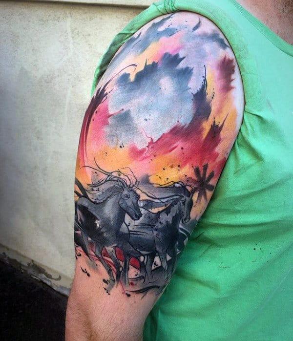Running Horses Waterclor Artistic Mens Upper Arm Tattoos