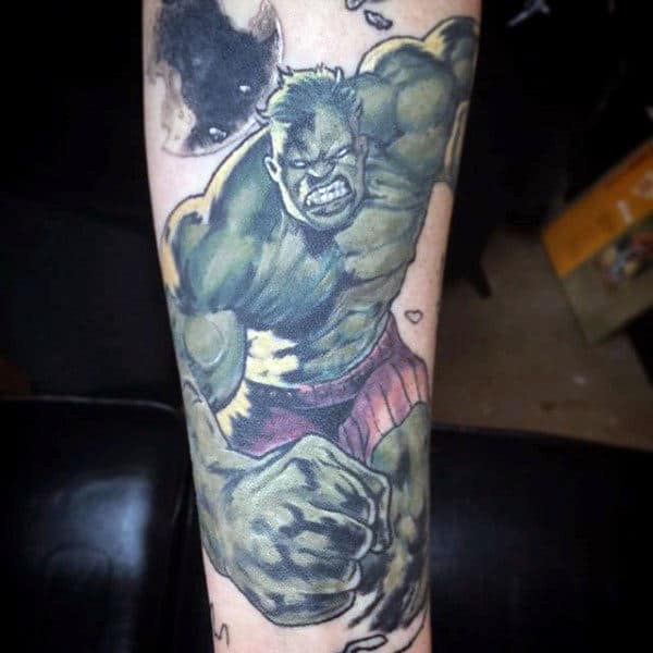 Running Hulk Tattoo Male Legs