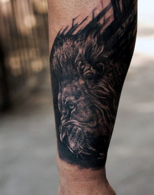 Running Lion Guys Watercolor Forearm Tattoo