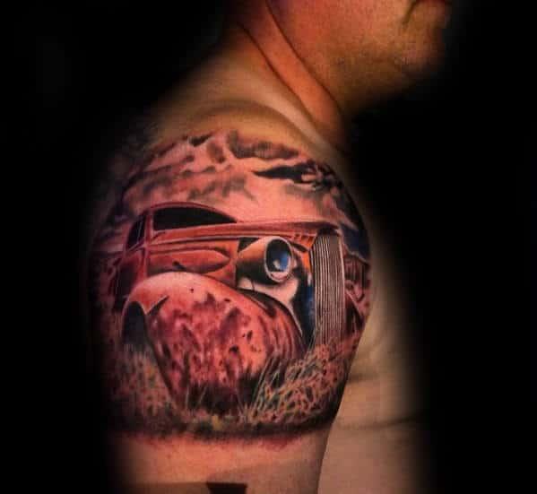 Rusted Chevy Car Mens Quarter Sleeve Tattoos