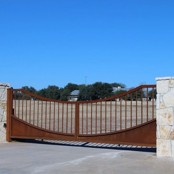 Rusted Steel Patina Rustic Driveway Gate Ideas