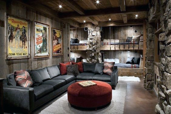 Rusti Cabin Themed Media Room Design Inspiration