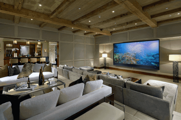 Rusti Home Theater Design With Bar And Tall Wood Beam Ceilings