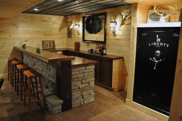 Rustic Basement Bar Idea With Built In Home Safe