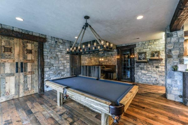 Rustic Basement Pool Area Ideas