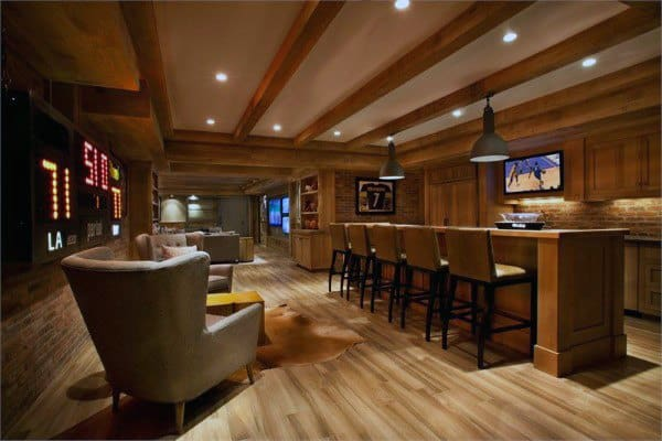 Rustic Beams Wooden Basement Ceiling Ideas