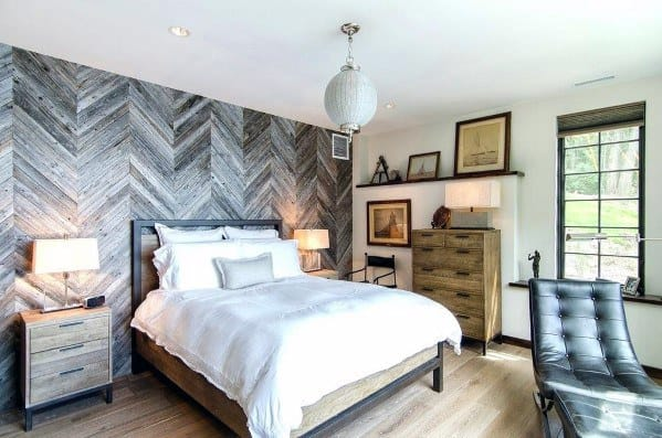 Rustic Bedroom Herringbone Wood Wall Ideas