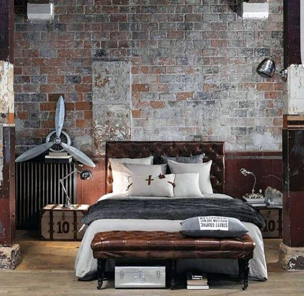 Rustic Bedroom Ultimate Bachelor Pad With Brick Wall