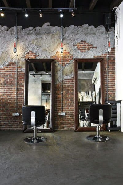 Rustic Brick Wall Barber Shop Design Inspiration