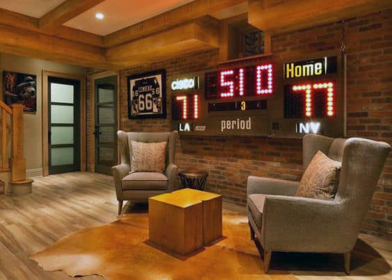 Rustic Brick Wall Basement With Scoreboard On Wall