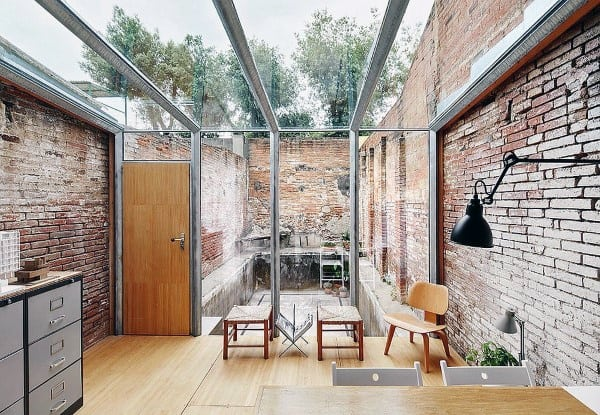 Rustic Brick Wall Open Glass Ceiling Sunroom Ideas