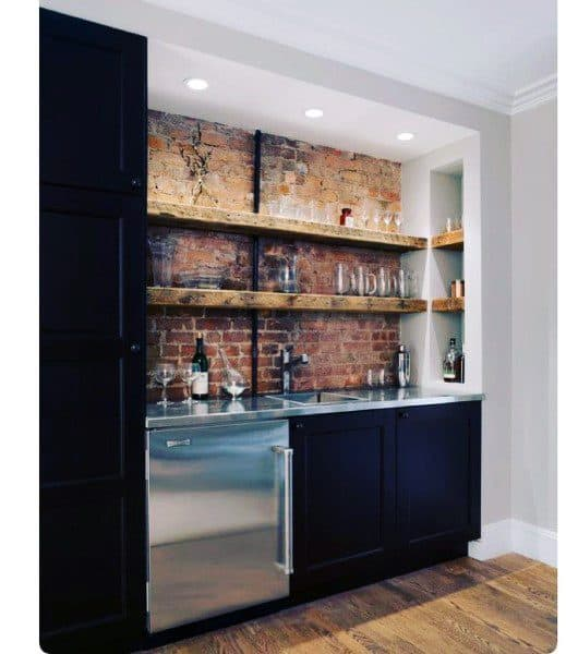 Rustic Brick Wall With Wood Shelves Wet Bar Ideas