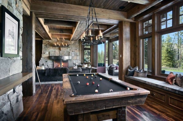 Rustic Cabin Billiards Room Ideas