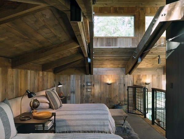 Rustic Cabin Cool Wood Wall And Ceiling Loft