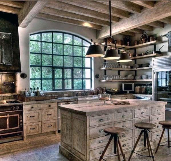 Rustic Cabin Interior Kitchen Tile Floor Design