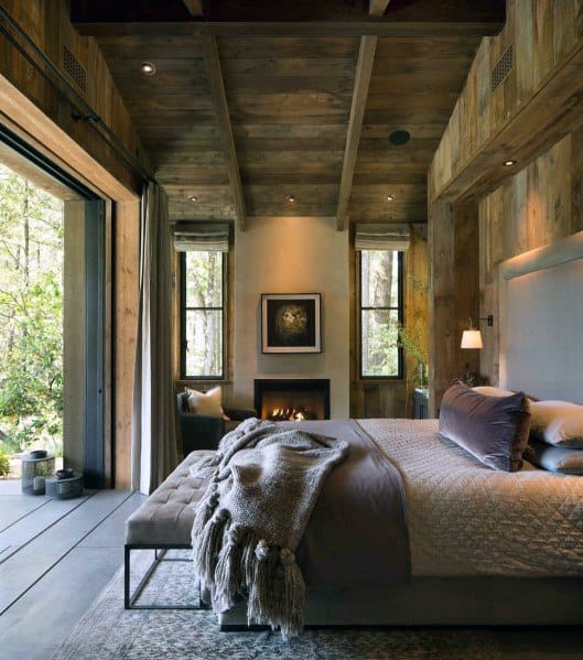 Rustic Cabin Wood Master Bedroom Ideas