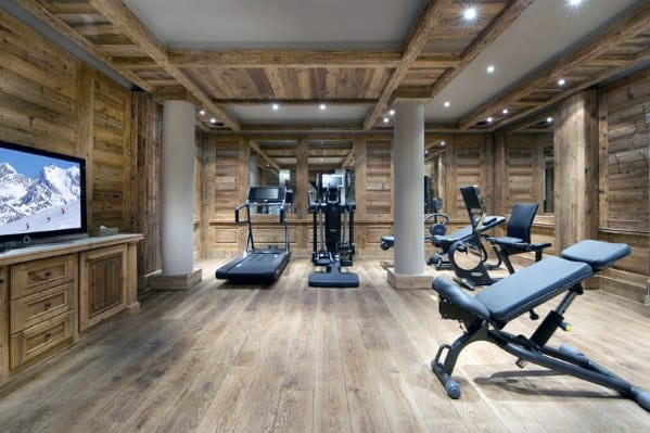 Rustic Cabin Wood Remarkable Ideas For Home Gym Flooring