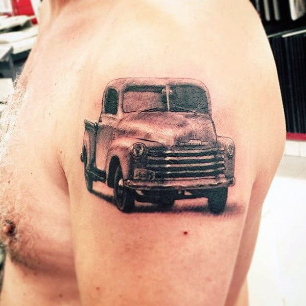 Rustic Chevy Truck Guys Upper Arm Shaded Tattoo Designs
