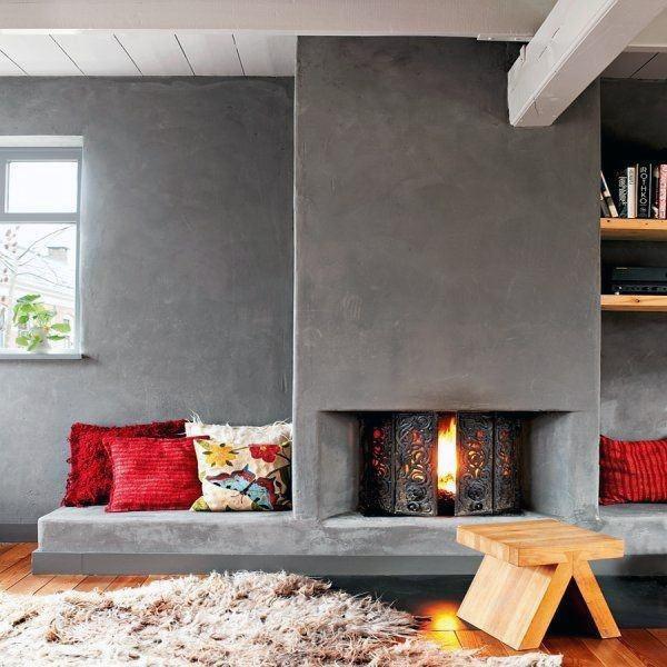 Rustic Concrete Fireplace Design