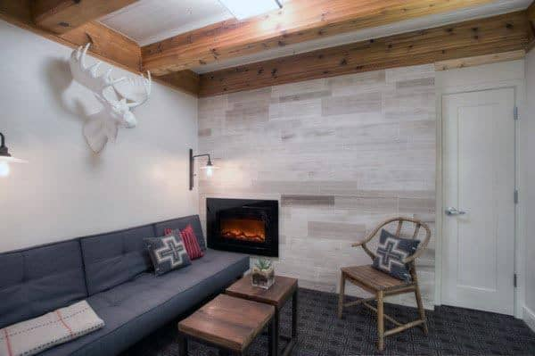 Rustic Contemporary Basement Lounge Area