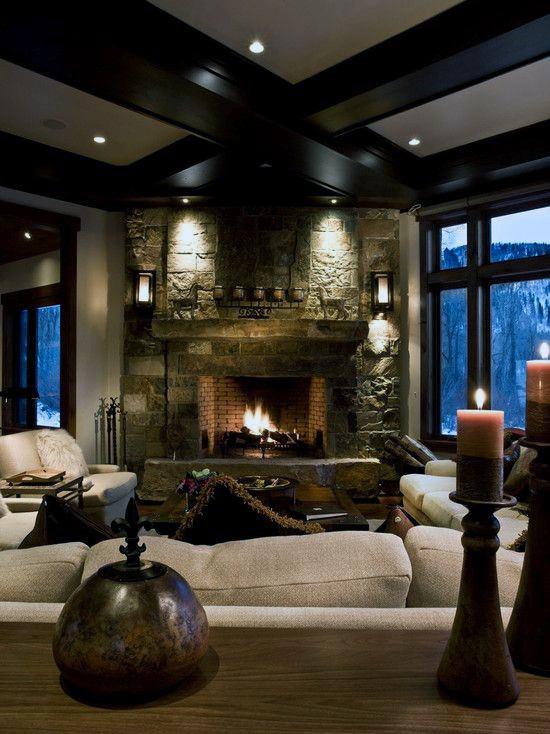 Rustic Corner Fireplace Design